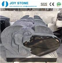 Absolute Black Granite Angel Heart Large Headstone Tombstone Design