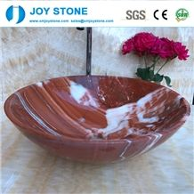 Red Color Marble Stone Wash Basin for Bathroom