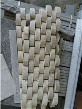 White Classic Camel Sand Stone 3d Mosaic