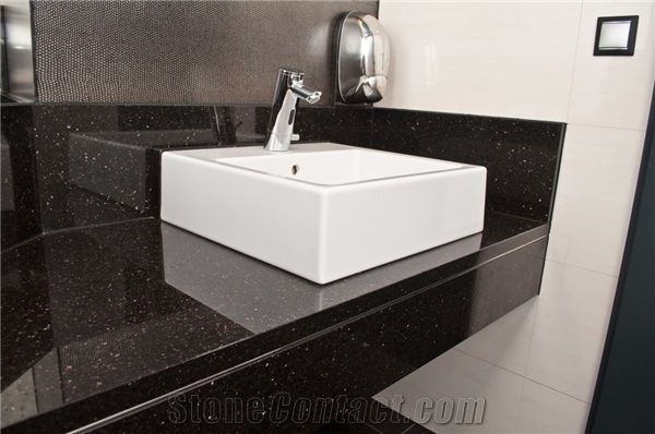 Black Galaxy Granite Bathroom Counter Top Vanity Top From Poland Stonecontact Com