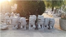 Granite Animal Sculptures,Garden Statues Marble,Carved Stone Lions,Dog