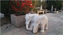Granite Animals Sculpture&Statues, Carving Stone Elephent, Hand Carved