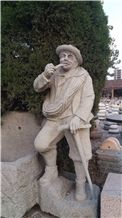 Natural Granite Human Sculptures,Hand Carved Statues,Western in Garden