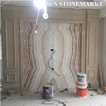 Rainbow Onyx Translucent Slab Cutting for Tv Background Vein Cut Bookmatched