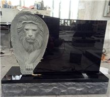 Norway Style Absolute Black Belfast Granite Tombstone Carved Lion
