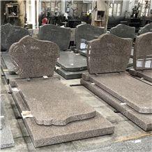 Rouge Oriental Pink Granite Bench Memorials Tombstone