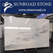 Chinese Ink Washed White Marble / Calacatta Grey White Marble Slabs