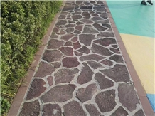 Red Lava Flag Stone Paving