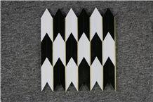 Mongolia Black, Sevecwhite, Titan Metal Water-Jet Marble Mosaics