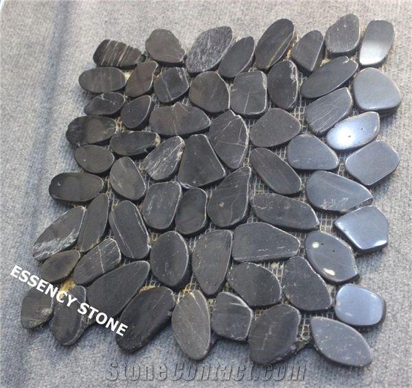 Polished Black Pebble Stone Mosaic Tile