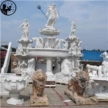 White Marble Huge Human Animal Spray Fountain Sculpture,Landscape Park