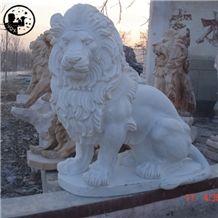 White Marble Lion Statues,Alabaster Animal Sculpture,Western Handcraft