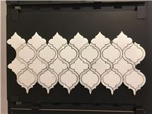Water Jet Mosaic Pattern ,Sevic White with Mother Of Pearl Mosaic