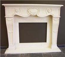 Beige Limestone Flower Carving Villa Furniture Fireplace Mantel