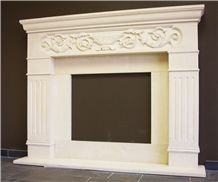 Beige Limestone Flower Carving Villa Furniture Fireplace Mantel with Column Sculptured Design