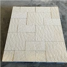 Beige Limestone Grooved Pattern Tile Floor Paving Panel,Cream Seashell Coral Stone Step Covering
