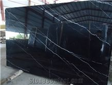China Black King Marquina Marble Slab,Machine Cutting Panel Wall Tile