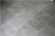 Jura Grey Limestone Seashell Honed Coral Stone Floor Covering Pattern