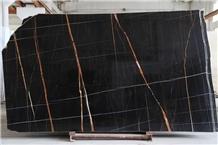 Laurent Black Gold Vein Sahara Noir Saint Marble Slab, Tunisia Black Marble Tiles Machine Cutting to Size