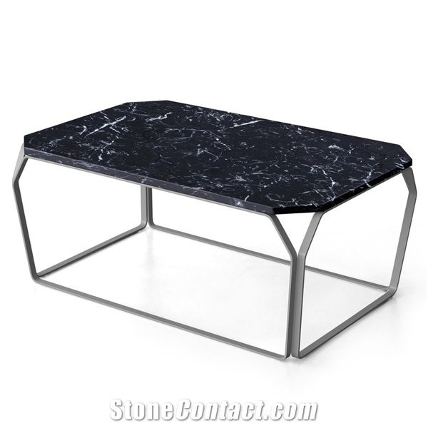 Nero Marquina Marble Modern Style Rectangle Table Tops Black