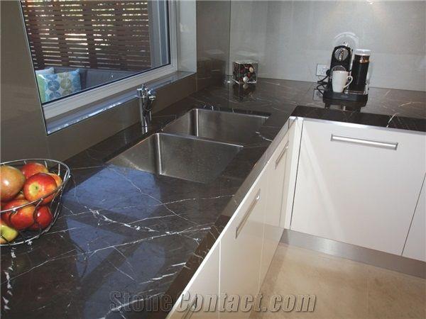 Pietra Grey Marble Kitchen Cabinet