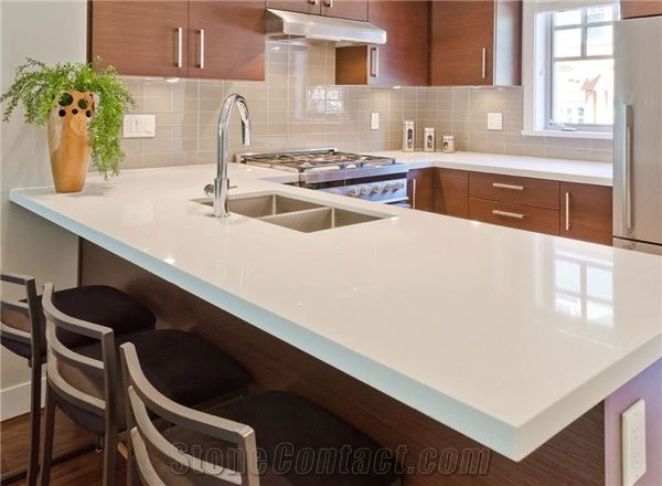 Pure White Quartz Stone Solid Surface L