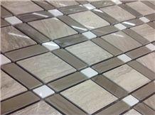 Silver Travertine Mix Grey Wooden Vein Marble Interior Art Mosaic Pattern