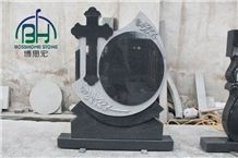 Dark Grey Granite Cross Headstone Flower for Cemetery