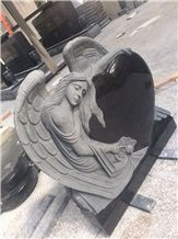 Shanxi Black Granite Heart Tombstones Angel Monuments