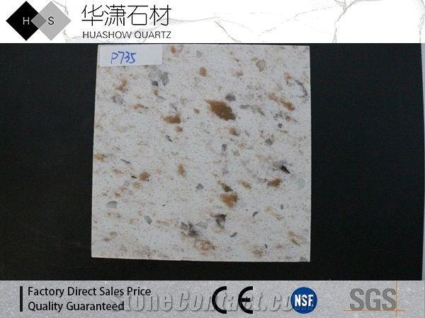 D735 Yellow Diamond Artificial Marble Slabs Tiles White Stone
