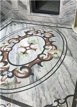 White Base Marble Waterjet Medallion,Marble Pattern,Interior Decor