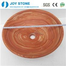 Cheap Polished Round Red Wood Grain Marble Washroom Bowl Basin Sink