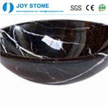 Polished Black Nero Marquina Marble Bowel Shaped Hotel Washroom Basin