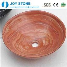 Polished Hand Made Red Wood Grain Marble Bowl Shape Bathroom Sink