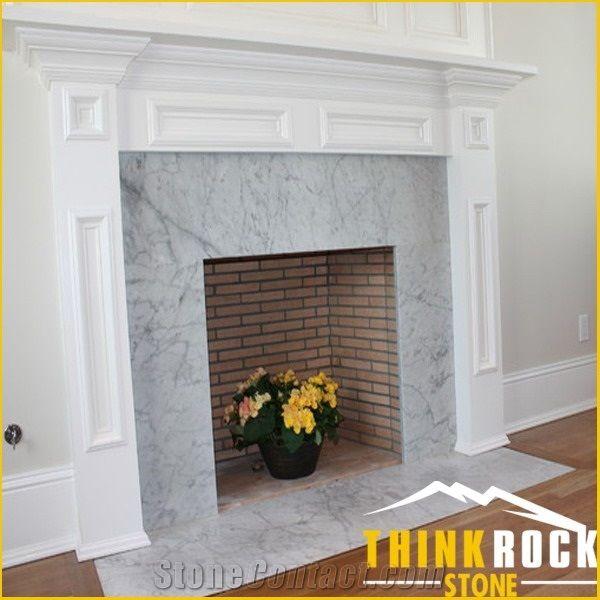 Carrara White Marble Subway Tiles Fireplace Surround Thinkrock