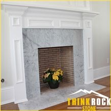 Carrara White Marble Subway Tiles Fireplace Surround - Thinkrock Stone