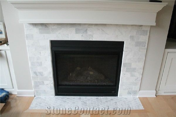 Carrara White Marble Subway Tiles Fireplace Surround Thinkrock Stone