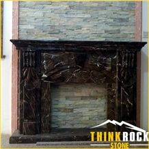 Dark Emperador Brown Marble Fireplace Project Customized