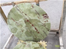 Green Onyx Marble Slab Round Tables