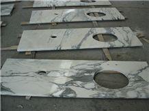 Italian Arabescato Corchia White Marble Vanity Top