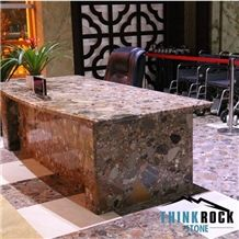 Multicolor Chinese Chocolate Natural Compound Stone Office Table
