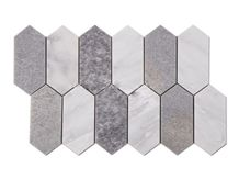 Plateau White and Baikal Blue Long Hexagon Marble Mosaics
