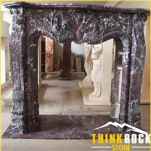 Rosa Levanto Red Marble Rosso Levanto Fireplace- Thinkrock Stone