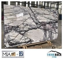 White Black Lilac Marble Slabs