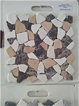 Handcrafted Marble Pebbles Mosaic Glued on Net, Pebble Decorative