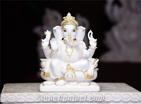 Ganesh G White Marble Statues From India Stonecontact Com