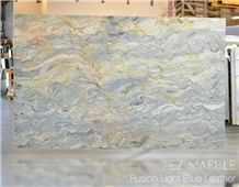 Fusion Light Blue Quartzite Leathered Finish Slabs