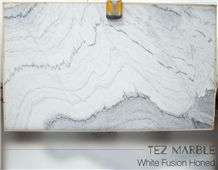 White Fusion Marble Honed Slabs