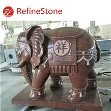 Decoration Garden Red Granite Elephant Statue