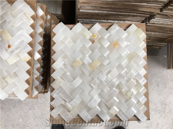 Kitchen Wall Stone Mosaic Tile White Onyx Tiles
